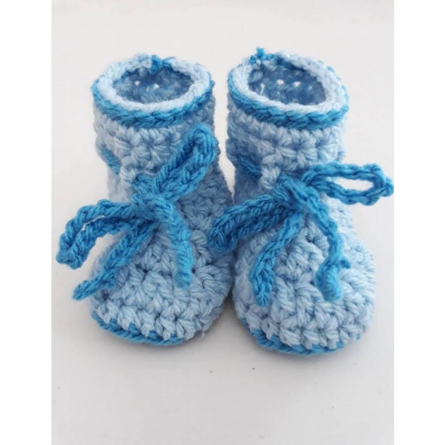 35bb3a37822 Πλεκτά παιδικά παπουτσάκια (Handmade) - Γαλάζιο - ariadni-shop.gr